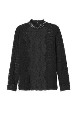 Long Sleeve Lace Mock Neck Top