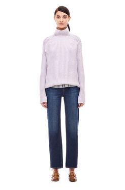 La Vie Ribbed Turtleneck Pullover - Wisteria