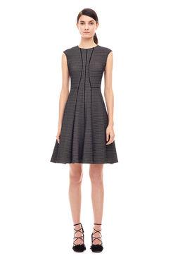 Textured Stretch Knit Dress - Black/Chalk