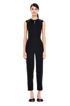 Crepe and Lace Jumpsuit - Black