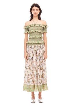 Off-The-Shoulder Mixed Print Dress - Print Mix Combo