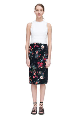 Meadow Floral Pencil Skirt - Black Combo