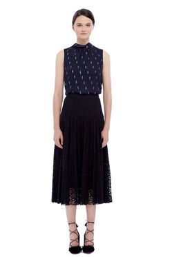 Pleated Lace Skirt - Black