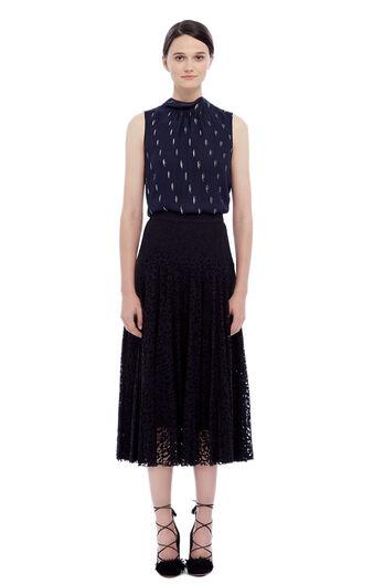 Pleated Lace Skirt - Black