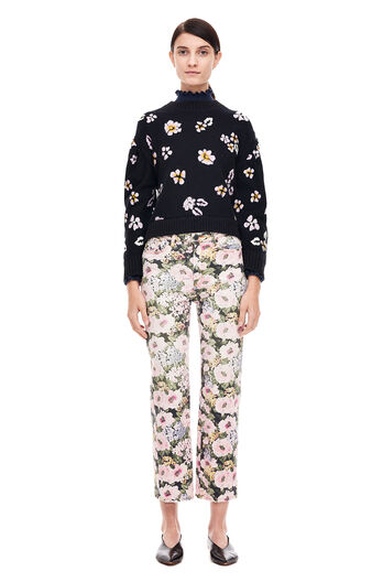 Brushed Floral Pullover - Black Combo