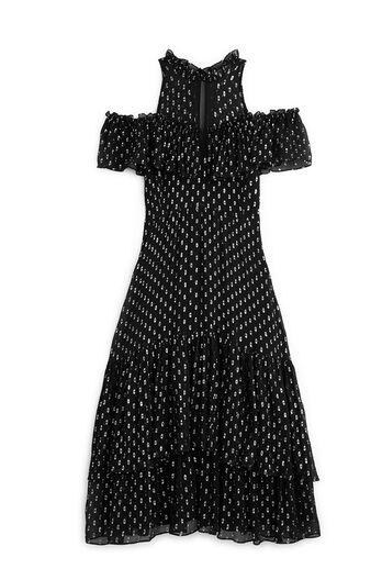 Open Shoulder Metallic Clip Dress