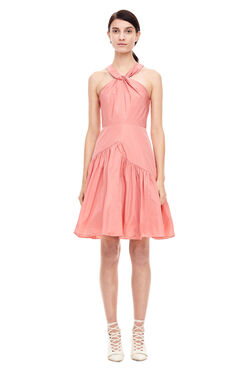 Knot Neck Taffeta Dress - Coral