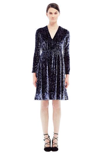 Velvet Liane Floral Dress - Navy Combo