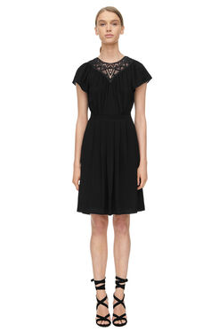 Short Sleeve Crepe and Lace Dress - Black