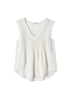 Sleeveless Silk and Lace Top