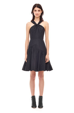 Knot Neck Taffeta Dress - Black