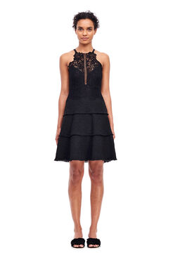 Tweed & Lace Dress - Black