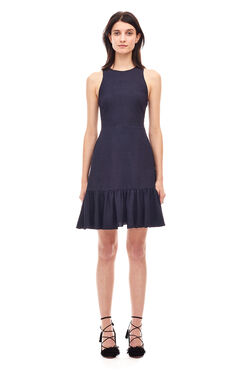 Textured Ruffled Dress - Dark Navy