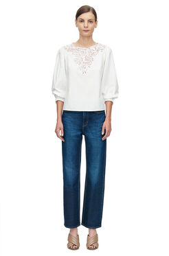 Long Sleeve Medallion Poplin Top - Snow