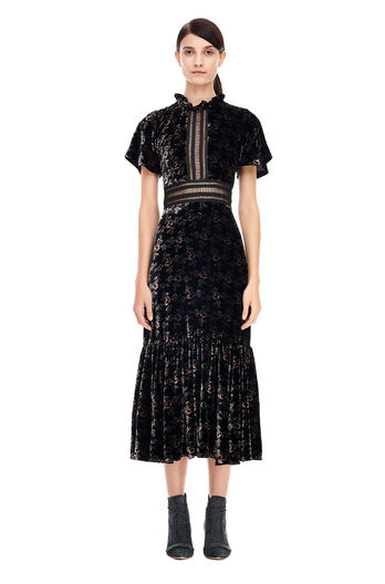 Shadow Floral Velvet Dress - Black Combo