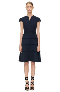 Short Sleeve Tweed Dress - Navy/Black