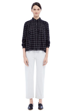 La Vie Windowpane Plaid Top - Black