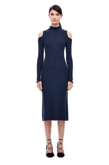 Open Shoulder Ribbed Dress - Blue/Black