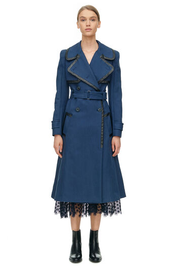 Leather Trim Trench