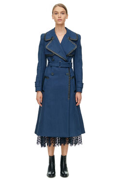 Leather Trim Trench - Navy