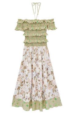 Off-The-Shoulder Mixed Print Dress