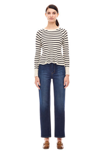 Striped Wool Pullover - Chalk/Black