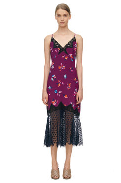 Bellflower Print Slip Dress - Plum Combo