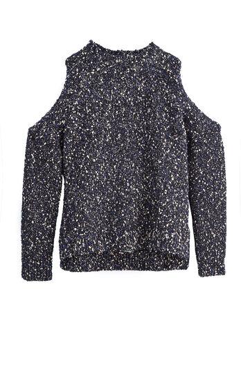 Open Shoulder Bouclé Pullover