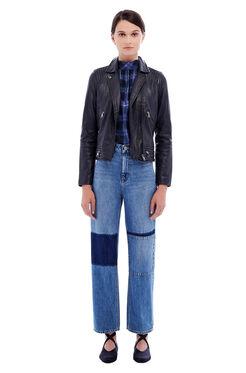 Garment Washed Leather Jacket - Navy