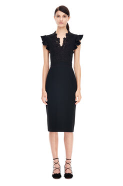 Crepe and Lace Dress - Black