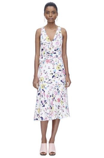 Sleeveless Tapestry Garden Ruffle Dress