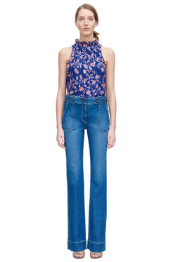 Sleeveless Kyoto Floral Top - Ink Blue