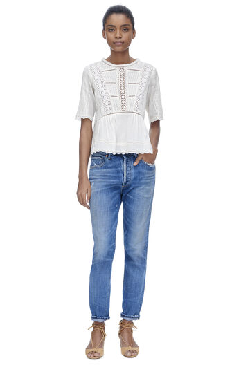 Short Sleeve Voile Lace Top