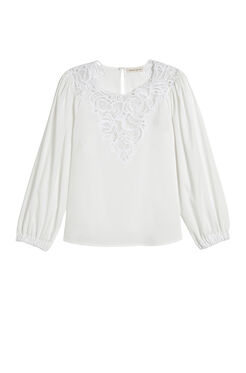 Long Sleeve Medallion Poplin Top