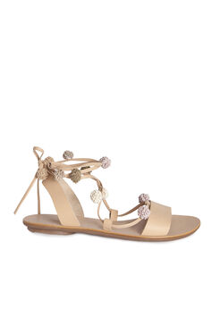 Loefller Randall Saskia Pom Pom Lace Up Sandal - Wheat Multi