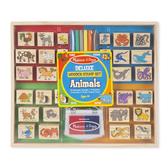 Deluxe Wooden Stamp Set - Animals