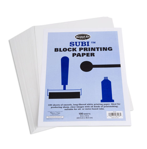 "Scratch Art Subi Block Printing Paper White (100 sheets 9"" x 12"")"