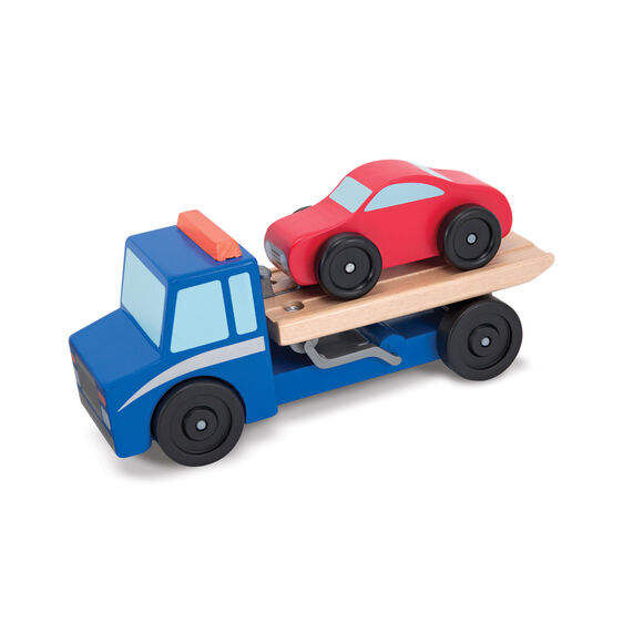 Wooden Toy Cars And Trucks : Flatbed tow truck wooden toy set