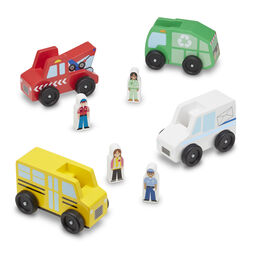 Classic Wooden Toy Community Vehicle Set