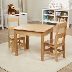 Solid Wood Table & Chairs 3-Piece Set