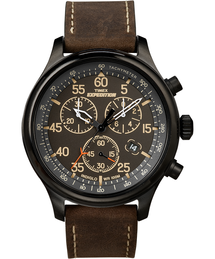 Expedition Field Leather Chronograph Watch Timex