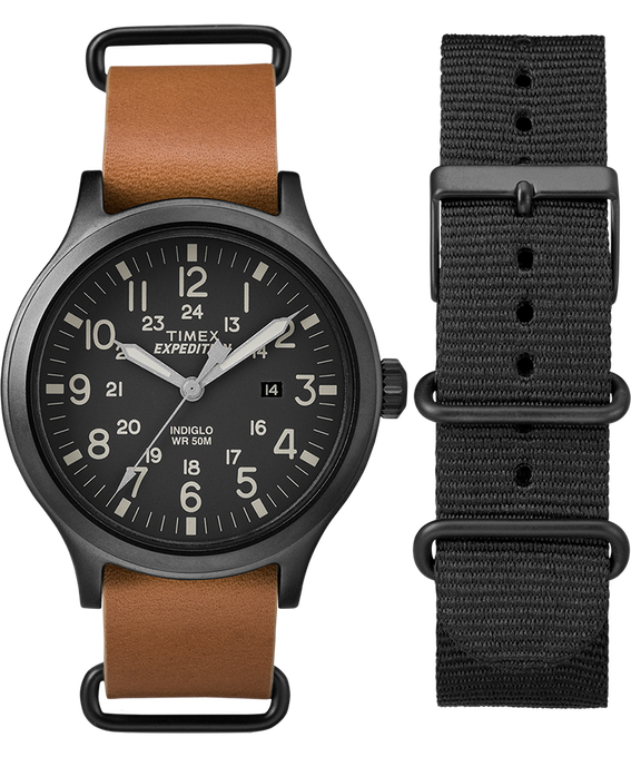 Scout 43mm Tan Strap/Black Dial Gift Set  large