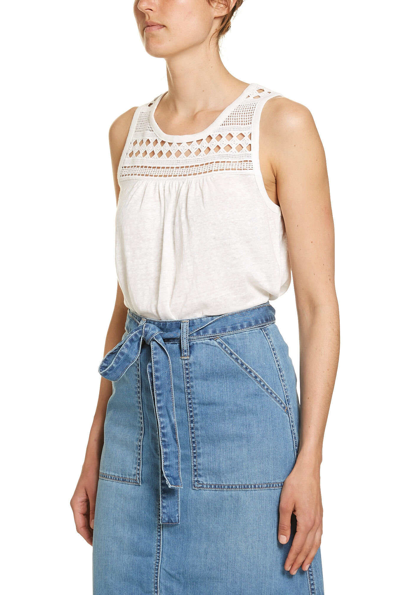NEW-JAG-WOMENS-LACE-YOKE-TEE-T-Shirts