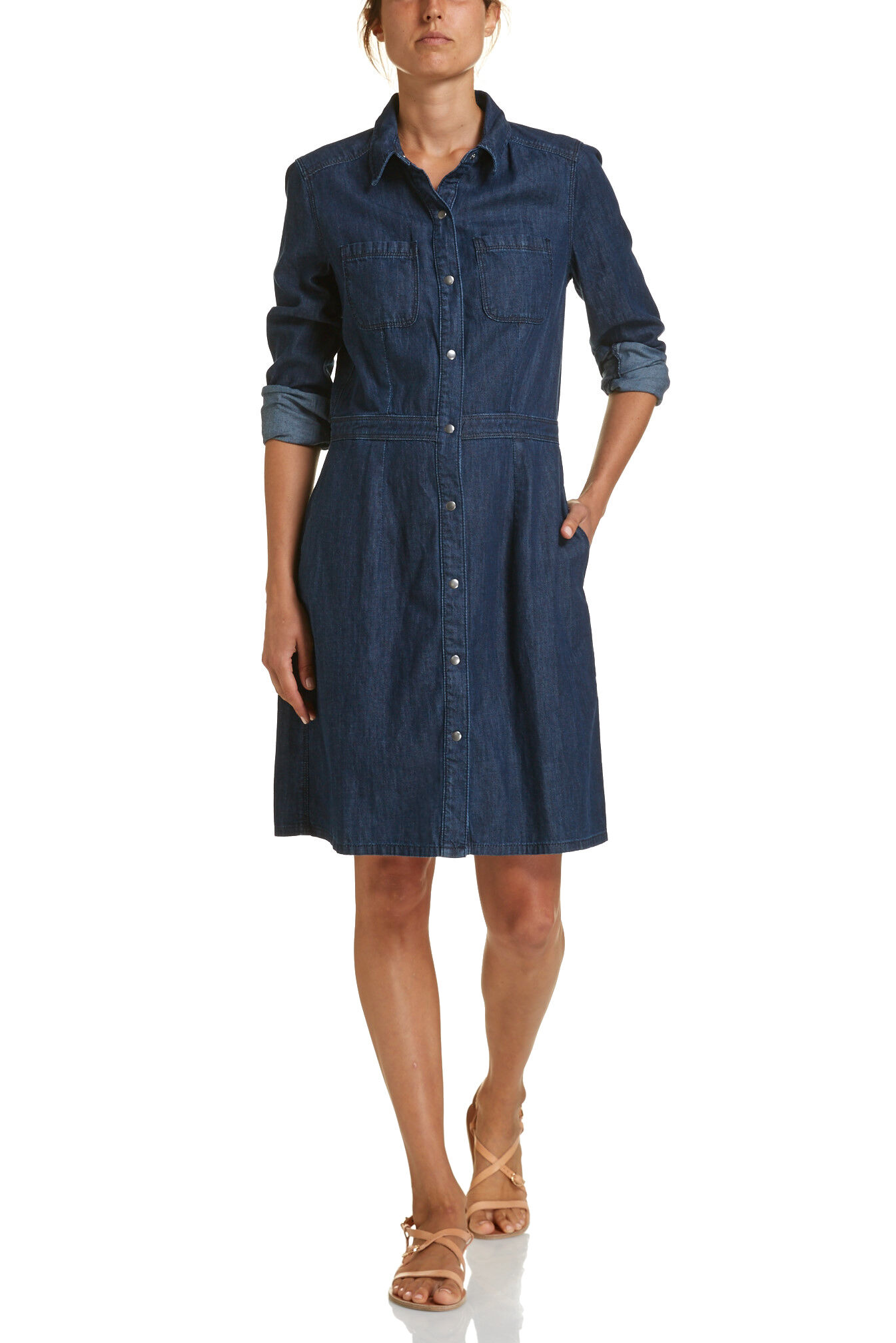 NEW JAG WOMENS Denim Snap Dress Dresses | eBay