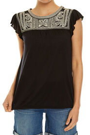 FRILL SLEEVE EMBROIDERED TEE