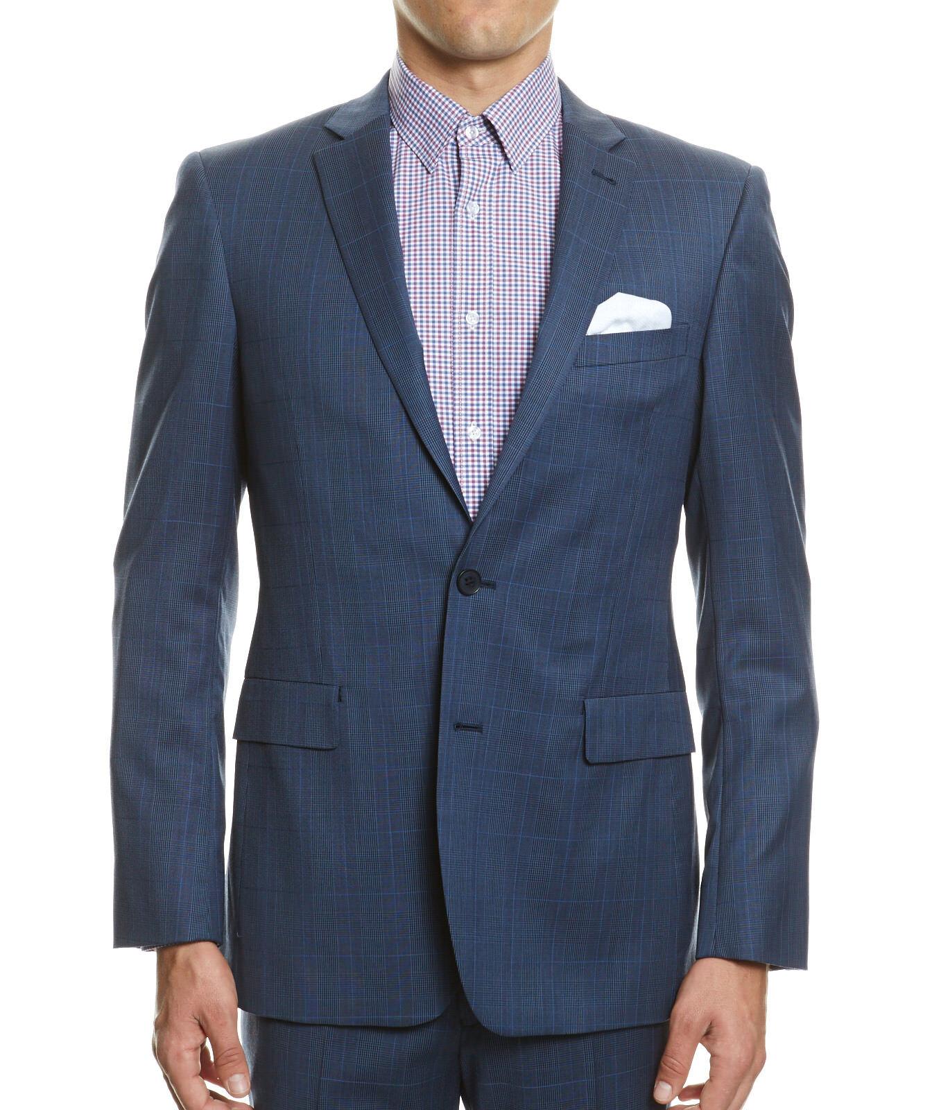 saba check suit jacketsmokeblue3897