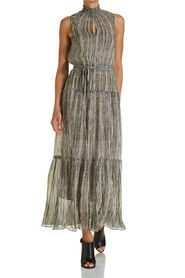 FRINGE PRINT MAXI DRESS