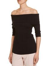 Signature Bardot ribbed knit top