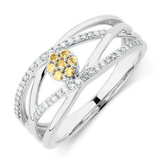 Ring with 1/4 Carat TW of Yellow & White Diamonds in 10kt White Gold