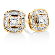 Stud Earrings with 0.15 Carat TW of Diamonds in 10kt Yellow Gold & Sterling Silver